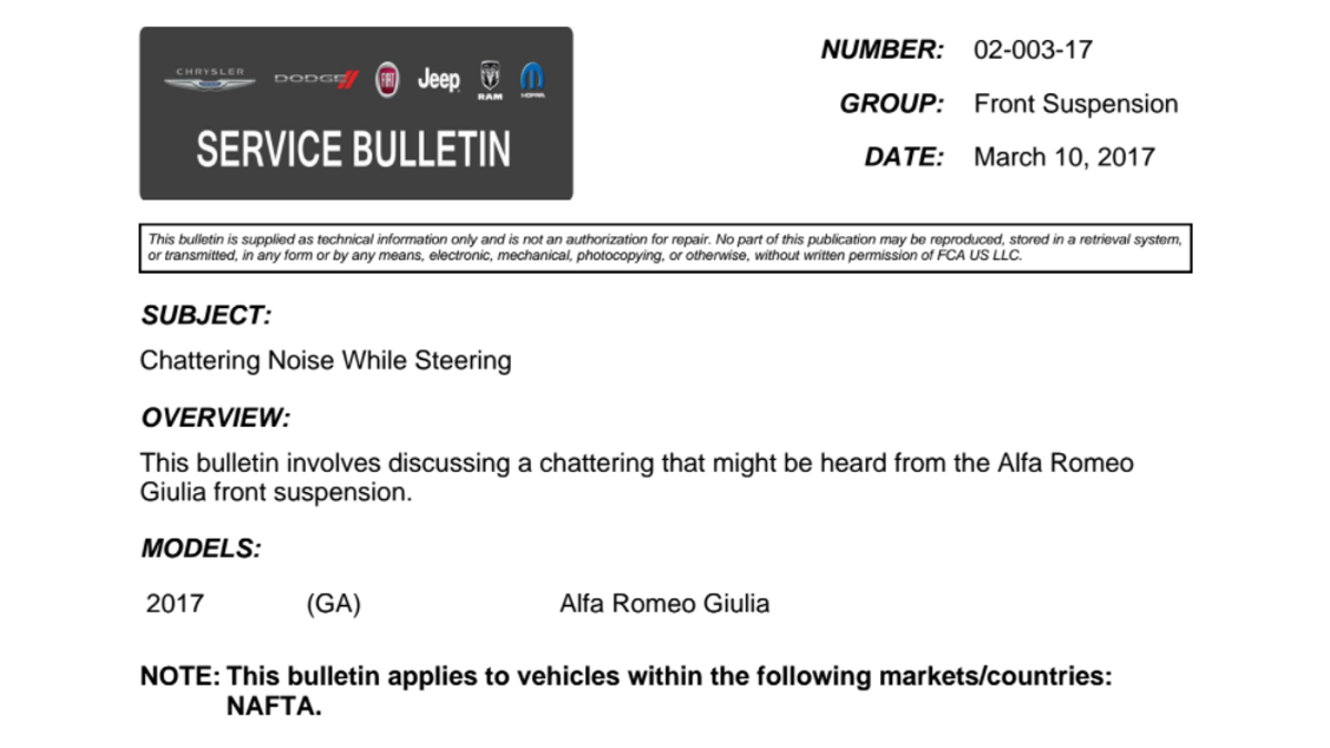 Here Are All The Problems That Fca Has Attempted To Fix On Alfa 156 Wiper Motor Wiring Diagram Romeo Giulia