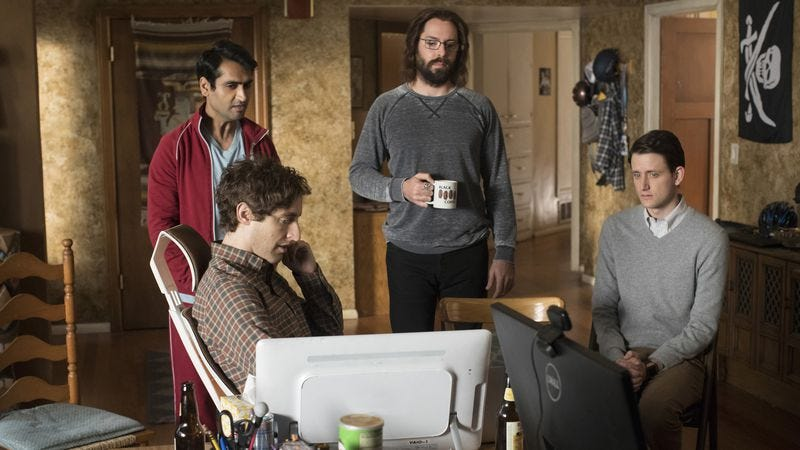 Kumail Nanjiani, Thomas Middleditch, Martin Starr, and Zach Woods star in Silicon Valley (Photo: John P. Johnson/HBO)