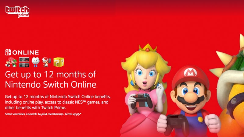 12 months of Nintendo Switch Online | Free | Twitch Prime/Amazon Prime Exclusive