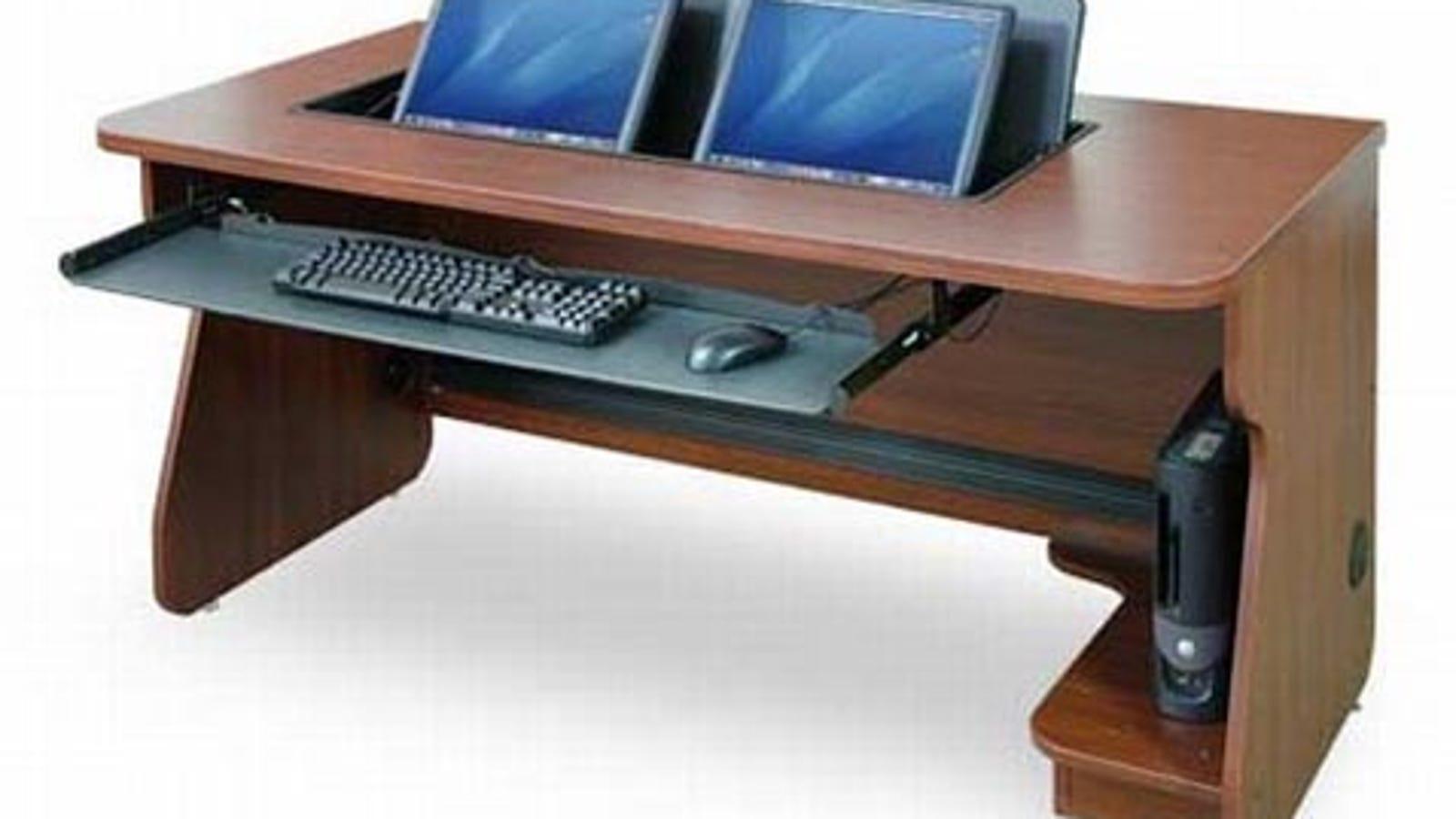 flipit multi monitor desk system. Black Bedroom Furniture Sets. Home Design Ideas