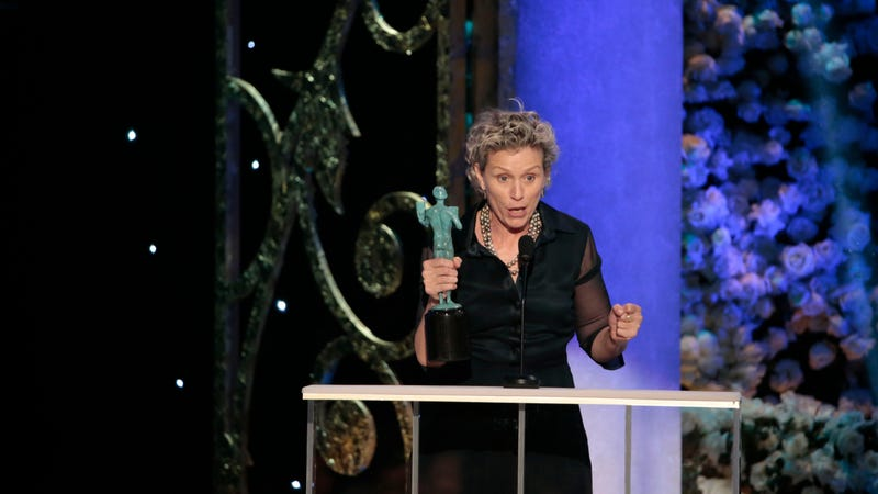 Frances McDormand accepts a Screen Actors Guild Award on January 25, 2015. (Photo by Robert Gauthier/Los Angeles Times via Getty Images)