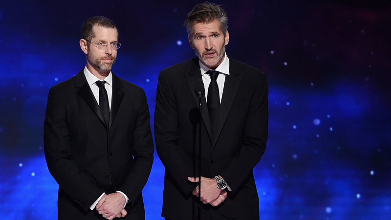 From left: D. B. Weiss and David Benioff present the Britannia Award for British Artist of the Year.