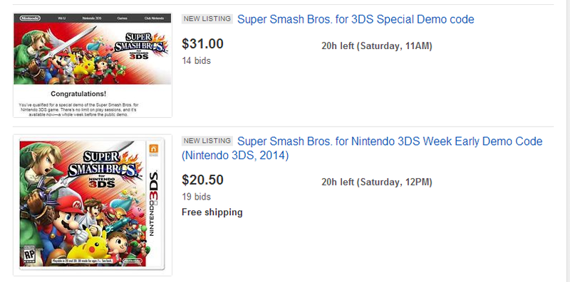 Illustration for article titled Wow, People Are Actually Trying To Buy Smash Bros. Demo Codes
