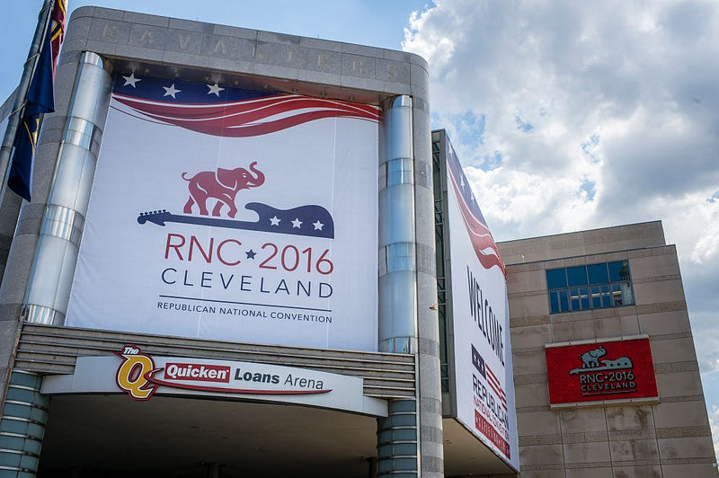 Quicken Loans Arena is decorated to welcome the Republican National Convention on July 11, 2016, in Cleveland.Angelo Merendino/Getty Images