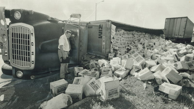 6,000 bottles of wine from Modena, Italy spilled from an overturned tractor trailer in Etobicoke, Canada, in 1981.