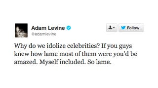 Illustration for article titled Adam Levine Wants Us to Stop Idolizing Him; Public Responds with 'Yeah, No Problem'