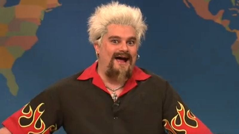 Illustration for article titled Guy Fieri reacts to The New York Times in a hilarious unaired Saturday Night Live segment
