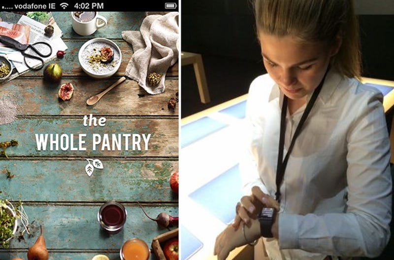 A screenshot of Belle Gibson's now defunct app, The Whole Pantry (left) and Gibson trying a prototype of the Apple Watch before it was released (right)