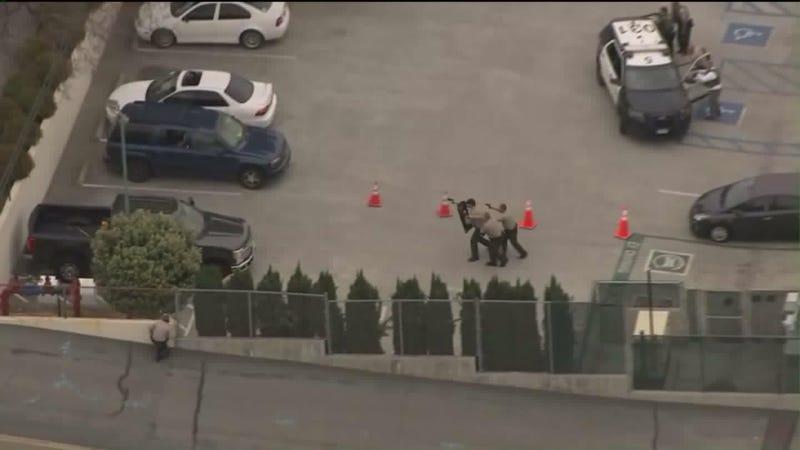 Scene of Temple City (Calif.) Sheriff's Station shooting (@ktla via Twitter)