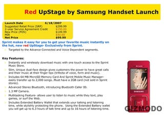 Illustration for article titled Unconfirmed: Red Sprint Samsung Upstage June 18