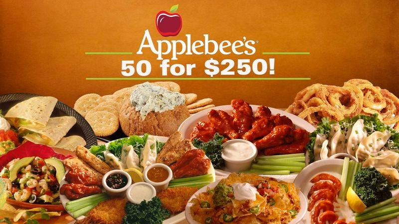 Illustration for article titled Applebee's Introduces New 50 Appetizers For $250 Special
