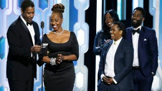 Denzel Washington accepts the Cecil B. Demille Award as his family looks on during the 73rd annual Golden Globe Awards in Beverly Hills, Calif., Jan. 10, 2016.Paul Drinkwater/NBCUniversal via Getty Images