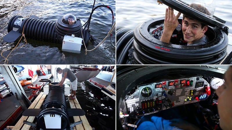 Illustration for article titled Un joven inventor de 18 años se construye su propio submarino
