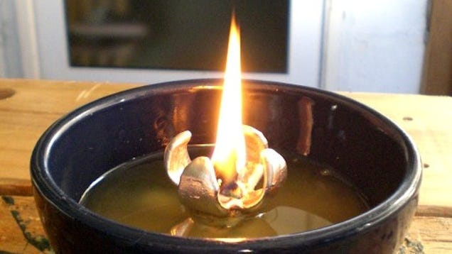 Diy Oil Lamp From Recycled Cooking Fats