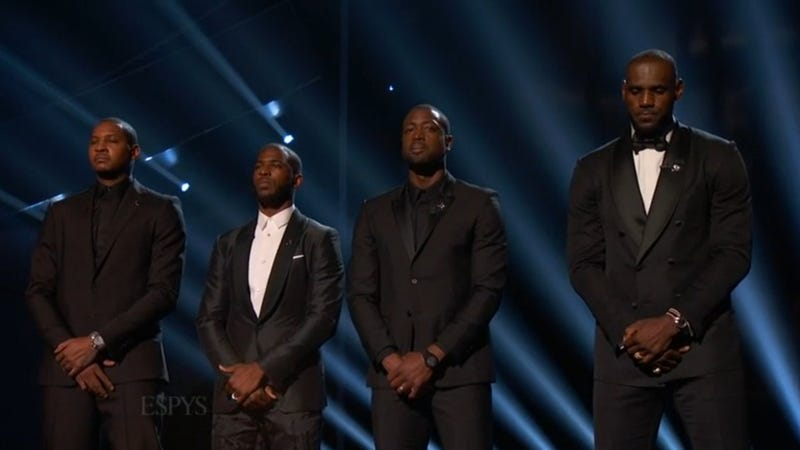 Carmelo Anthony, Chris Paul, Dwyane Wade and LeBron James onstage at the ESPYS on July 13, 2016Twitter
