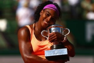 Serena Williams poses with the Coupe Suzanne Lenglen trophy after winning the Women's Singles Final against Lucie Safarova of Czech Republic on day 14 of the 2015 French Open at Roland Garros June 6, 2015, in Paris.Clive Brunskill/Getty Images