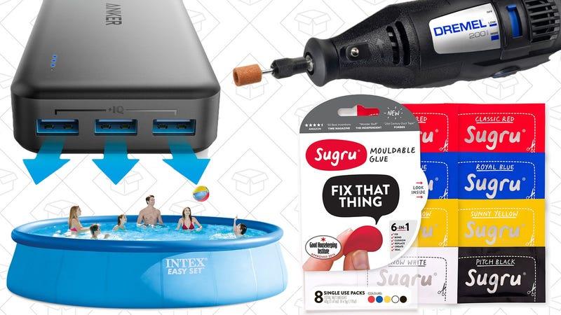 Illustration for article titled Today's Best Deals: PowerCore II Battery, $29 Dremel, Inflatable Pools, and More