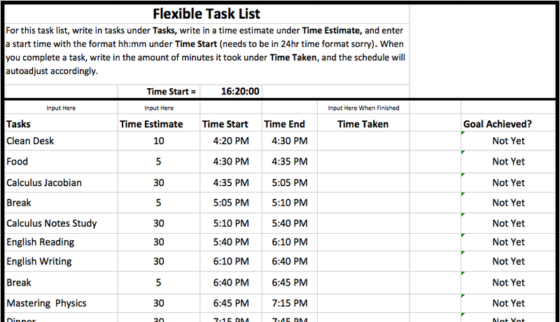 flexible task list is the simplest excel template for time tracking