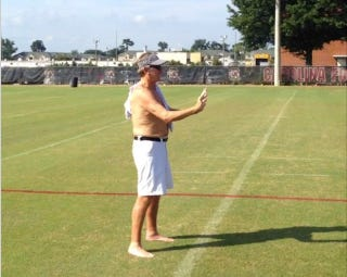 Illustration for article titled Football Must Be Here: Shirtless Steve Spurrier Is Making The Rounds