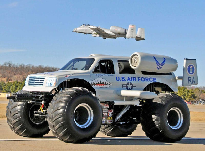 Illustration for article titled T-Shirt-Shooting A10 Warthog Monster Truck Is Everything Right With America