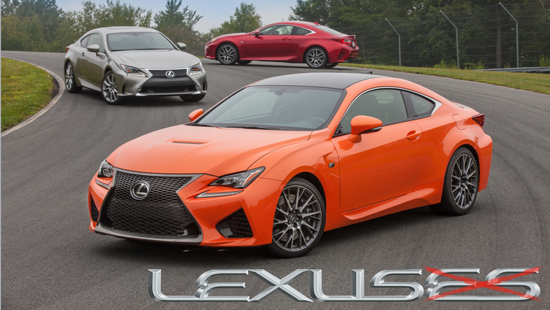 "Three 2015-2016 Lexus RC models. (See how we avoided that whole ""plural Lexus"" thing?)"