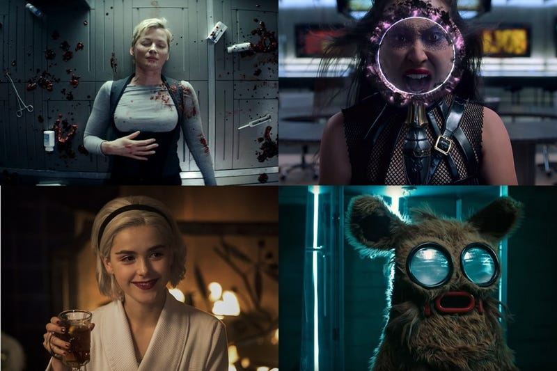 Clockwise from top left: Nightflyers, Runaways, Into The Dark: Pooka! & Chilling Adventures Of Sabrina: A Midwinter's Tale.