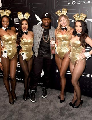 50 Cent with a group of Playboy Playmates at a Playboy Party on Feb. 5, 2016, in San Francisco.Jason Merritt/Getty Images for Playboy