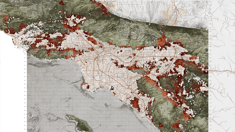 Projected urban growth in Los Angeles overlain on biodiversity data. Dark green indicates remnant vegetation while lighter green indicates protected areas. Red areas are regions of expected urban-biodiversity conflicts in 2030. Image: Richard Weller / Hotspot Cities