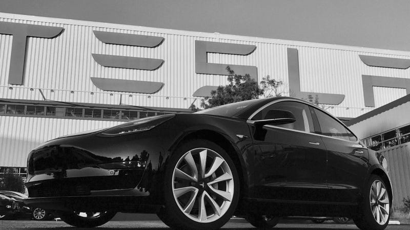 Illustration for article titled The First Production Tesla Model 3 Was A Birthday Gift To Elon Musk