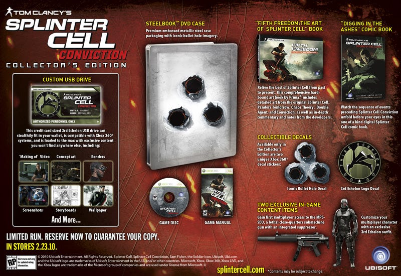 Illustration for article titled Splinter Cell Conviction Gets Collector's Edition, Night Vision Not Included