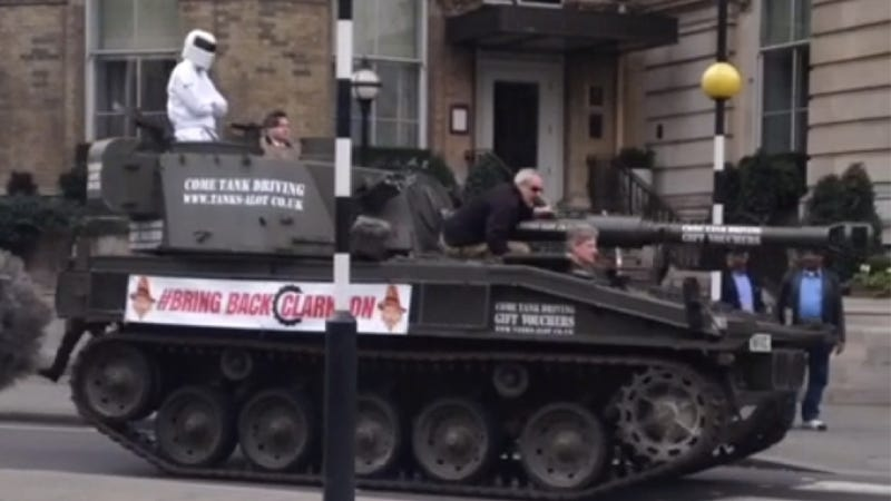 Illustration for article titled Jeremy Clarkson Supporters Just Drove A Freaking Tank To The BBC