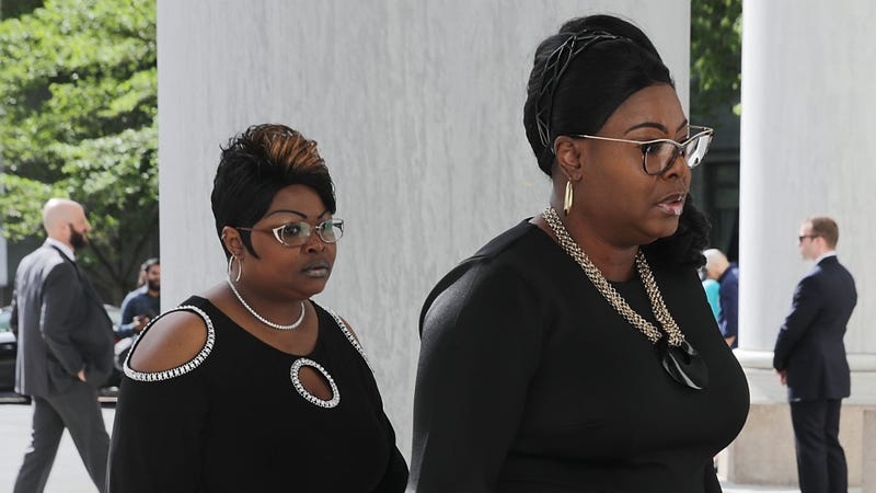 Lynnette Hardaway and Rochelle Richardson, also known as Diamond and Silk respectively, arrive to testify before the House Judiciary Committee at the Rayburn House Office Building on Capitol Hill in Washington, D.C., on April 26, 2018.