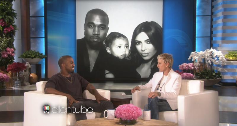 Illustration for article titled New Man Kanye West Tells Ellen He's a Better Human Since Having North