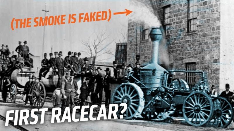 Illustration for article titled This Photo From 1878 Is Likely The First Picture Of A Racecar