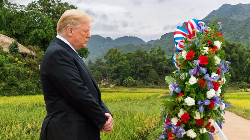 Illustration for article titled Trump Solemnly Lays Wreath At Site Where He Would Have Died During Vietnam War If He Weren't Rich