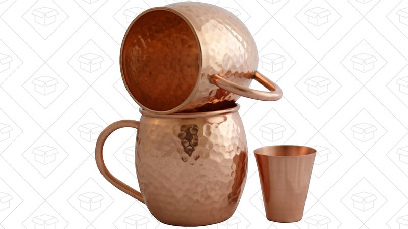 2-Pack Moscow Mule Mugs with Copper Shot Glass, $16 with code 5DKG9M7F
