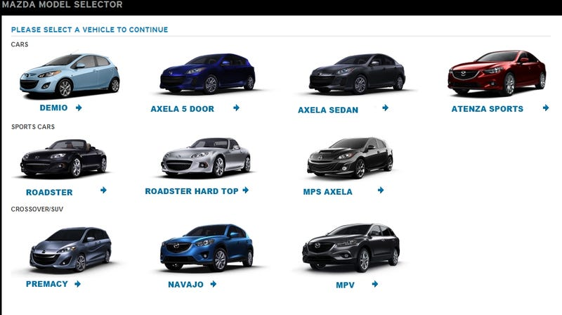 Illustration for article titled Mazda Lineup - sans numerical names