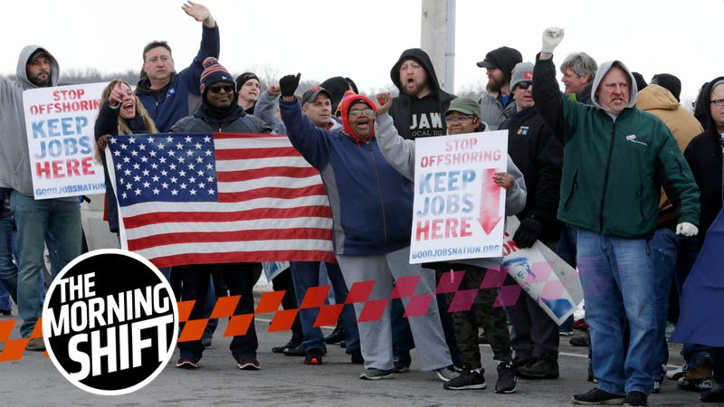 General Motors employees gather outside the plant for a protest, Wednesday, March 6, 2019, in Lordstown, Ohio.