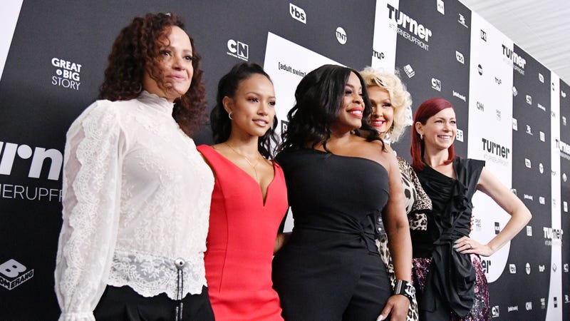Judy Reyes, Karrueche Tran, Jenn Lyon, Niecy Nash and Carrie Preston of Claws attend the Turner Upfront 2018 arrivals on the red carpet at the Theater at Madison Square Garden on May 16, 2018, in New York City.