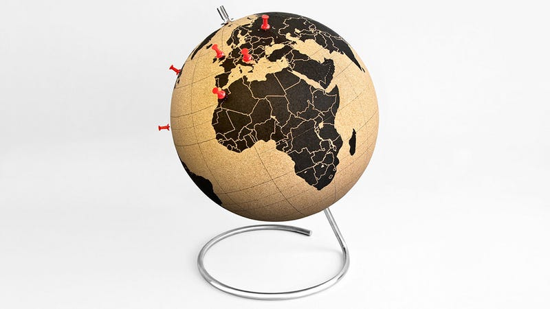 Illustration for article titled Keep Track of Your World Travels on This Cork-Covered Globe