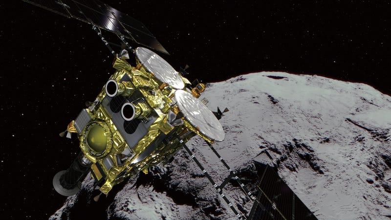 A CGI rendering of Hayabusa2 orbiting the asteroid Ryugu.