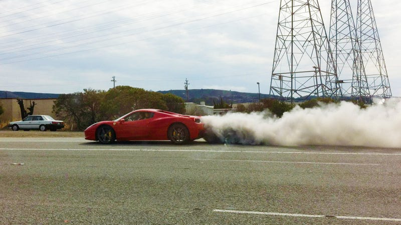 Illustration for article titled Asshat Swerving In A Ferrari 458 Blows Engine