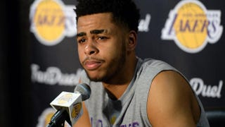 D'Angelo Russell of the Los Angeles Lakers speaks during a news conference to discuss the controversy with teammate Nick Young before the start of the NBA game against the Miami Heat at Staples Center in Los Angeles onMarch 30, 2016.Kevork Djansezian/Getty Images