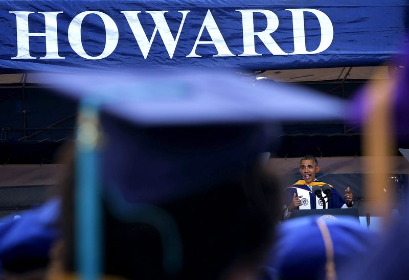 President Barack Obama gives the commencement address at Howard University on May 7, 2016, in Washington, D.C. Alex Wong/Getty Images