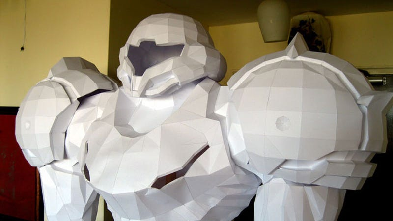 Illustration for article titled Stand in Awe of This Life-Sized Metroid Statue (Made of Paper!)