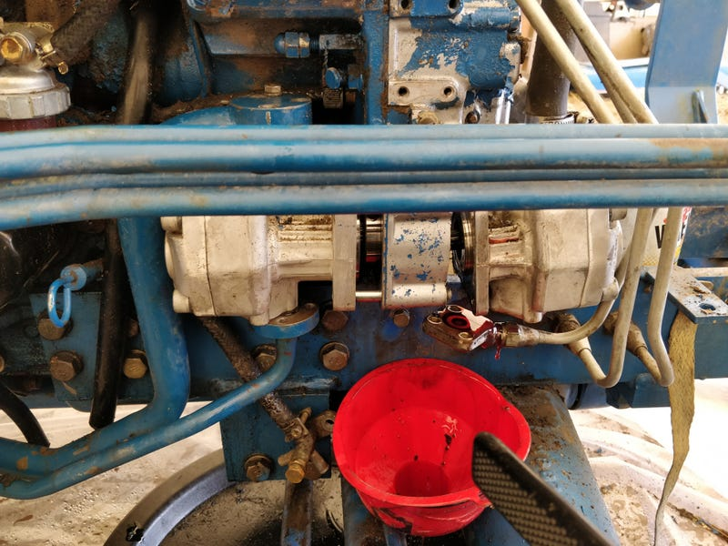 Separating the hydraulic pumps...