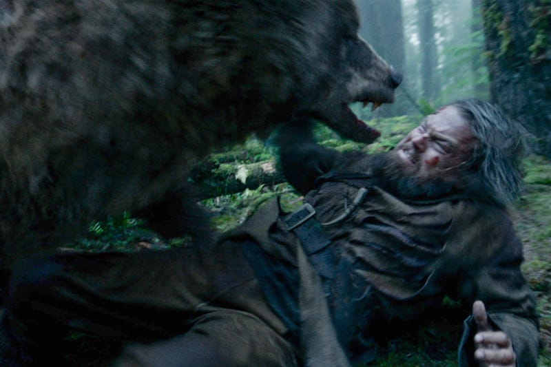 Illustration for article titled The Revenant's Attack Scene Involved a Stuntman Pretending to Be a Bear