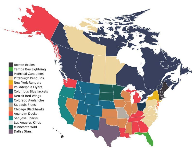 Illustration for article titled Facebook Fandom Map Shows Who We're Rooting For In The NHL Playoffs