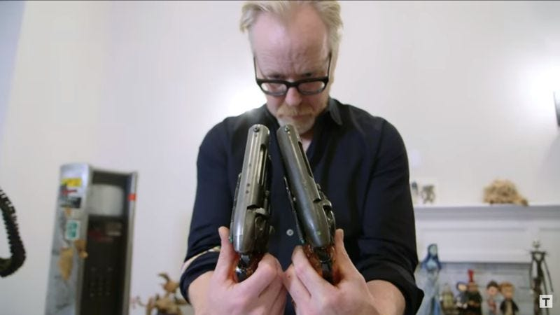Illustration for article titled MythBusters' Adam Savage finally holds the real Blade Runner pistol