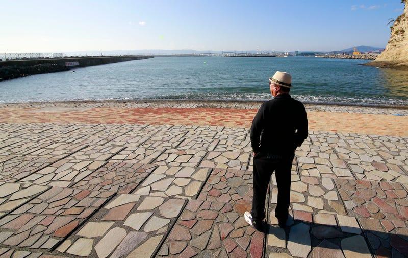 A man looks out at the sea after the tsunami warning was lifted at Onahama coastal region in Iwaki, Fukushima, on Tuesday. Image: Shizuo Kambayashi/AP